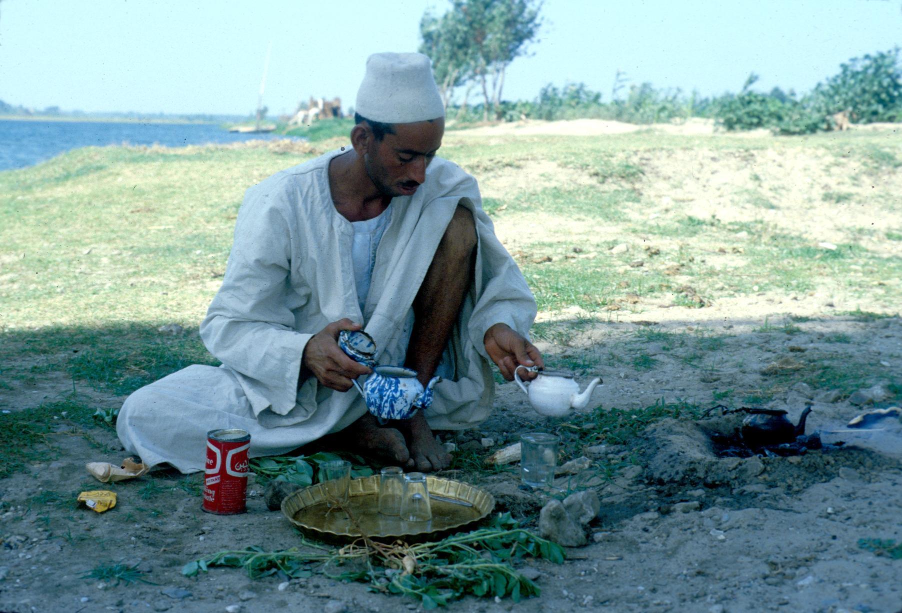 Farmer Making Tea by the Nile River
