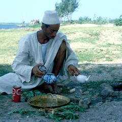 Farmer Making Tea by the Nile River