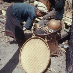 Winnowing rice basket