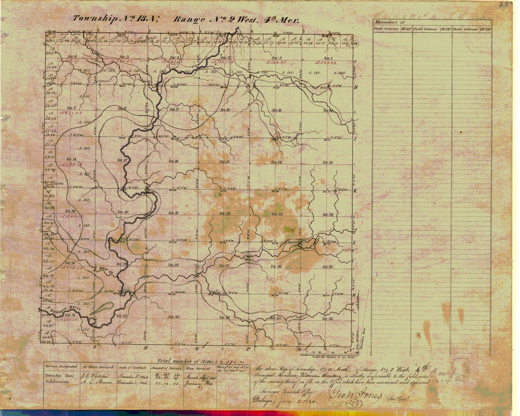 [Public Land Survey System map: Wisconsin Township 13 North, Range 02 West]