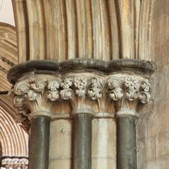 Worcester Cathedral interior choir south aisle capitals