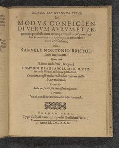 Elixer, seu, Medicina vitae, seu Modus conficiendi verum aurum, et argentum potabile ...