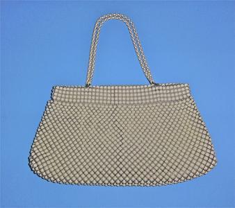 Whiting & Davis white alumesh bag