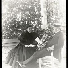 Mr. and Mrs. Frederick S. Newell on porch