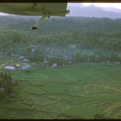 Air views of village and surrounding area