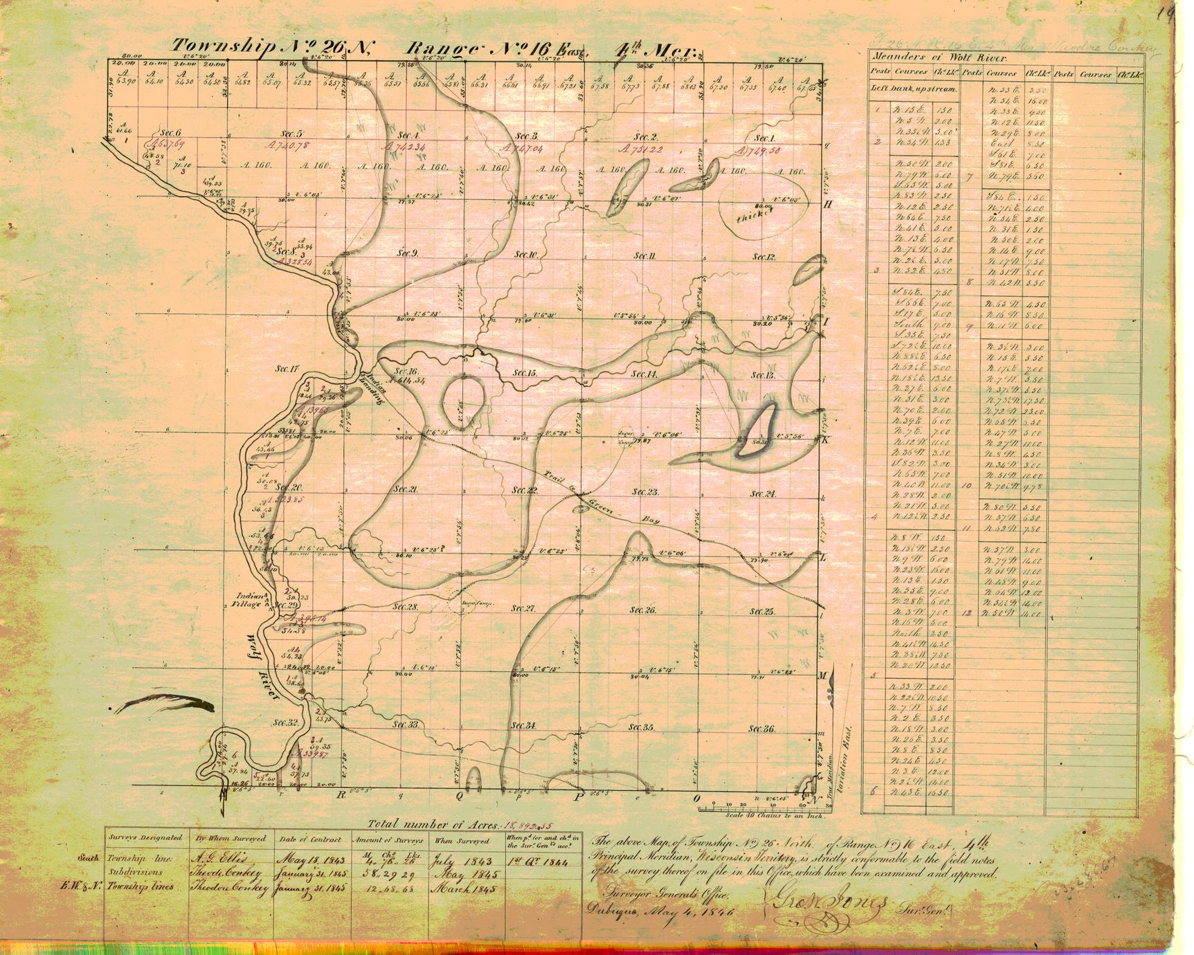 [Public Land Survey System map: Wisconsin Township 26 North, Range 16 East]