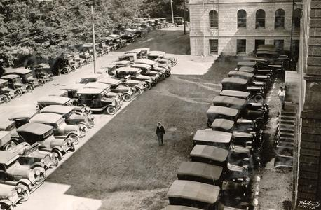 Early automobiles behind Bascom Hall