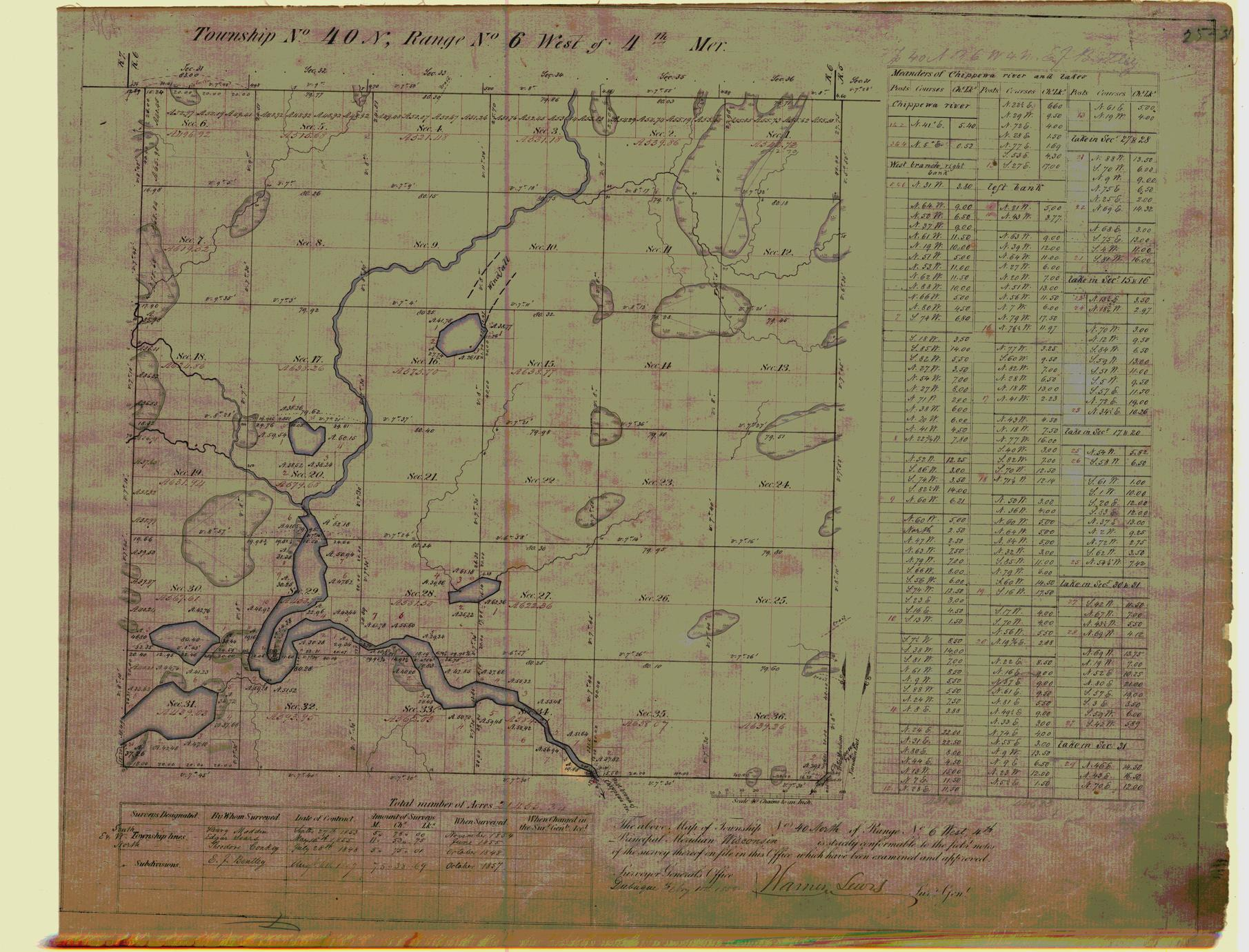 [Public Land Survey System map: Wisconsin Township 40 North, Range 06 West]