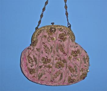 Pink velvety fabric bag