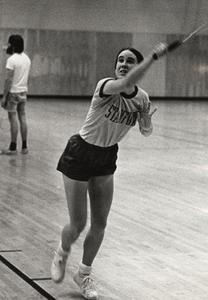 Carol Wilkinson playing badminton
