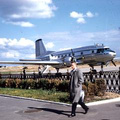 View of twin engine plane at the airport