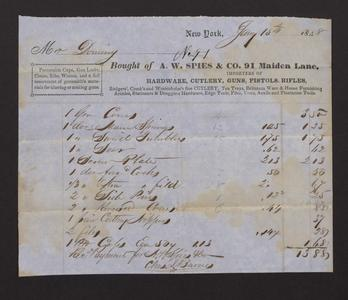 Bill and receipt of payment to A.W. Spies & Co., 1848