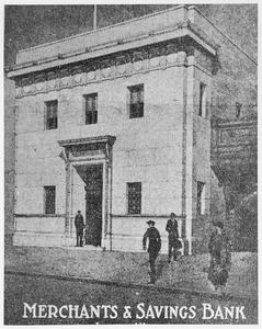 Merchants and Savings Bank exterior on West Milwaukee Street