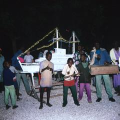 Young People with Festive Boat Made for Christmas