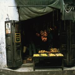 Small Fruit Shop Typical of Shops Found in Narrow Closely-Built Houses in Central Zanzibar Town