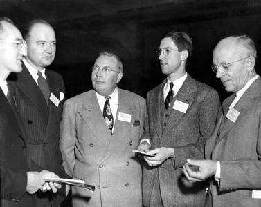 At Midwest Wildlife Conference, Purdue University, West Lafayette, Indiana, December 1947 (Leopold on right)
