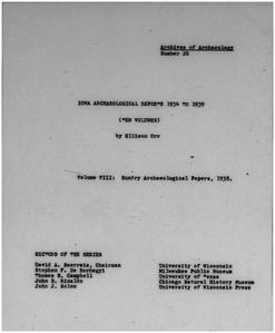 Iowa archaeological reports 1934 to 1939. Volume VIII, Sundry archaeological papers, 1938