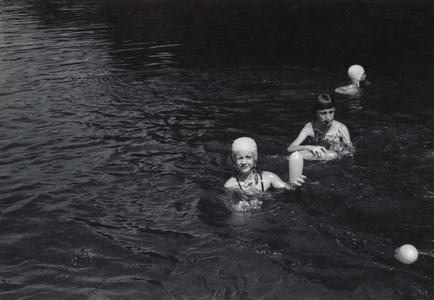Children swim at Camp Gallistella Tent Colony