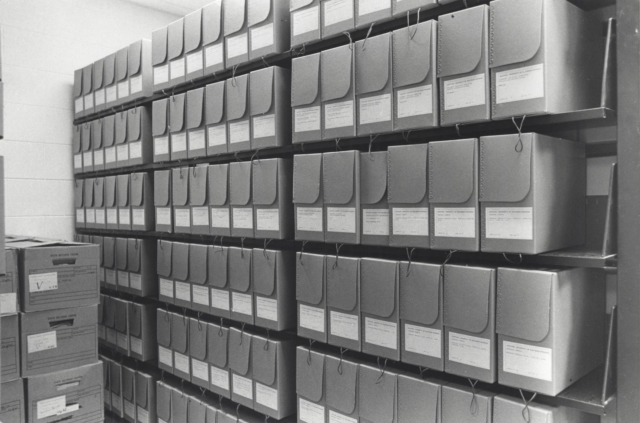 Stacks in the east room of the UW-Parkside archives