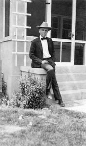 On front stoop of house in Albuquerque, New Mexico, 1929