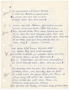 Lyrics sheets for German songs