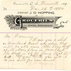 Note from J.O. Hopping to Nathaniel Dominy VII, 1892
