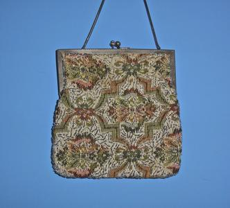 Floral and geometric tapestry bag
