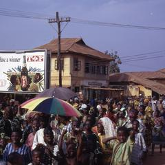 Street scene and crowd in Iwude