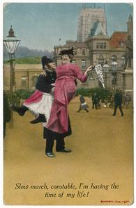 Slow march constable, suffrage postcard