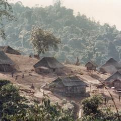 Panoramic view of a White Hmong village in Houa Khong Province