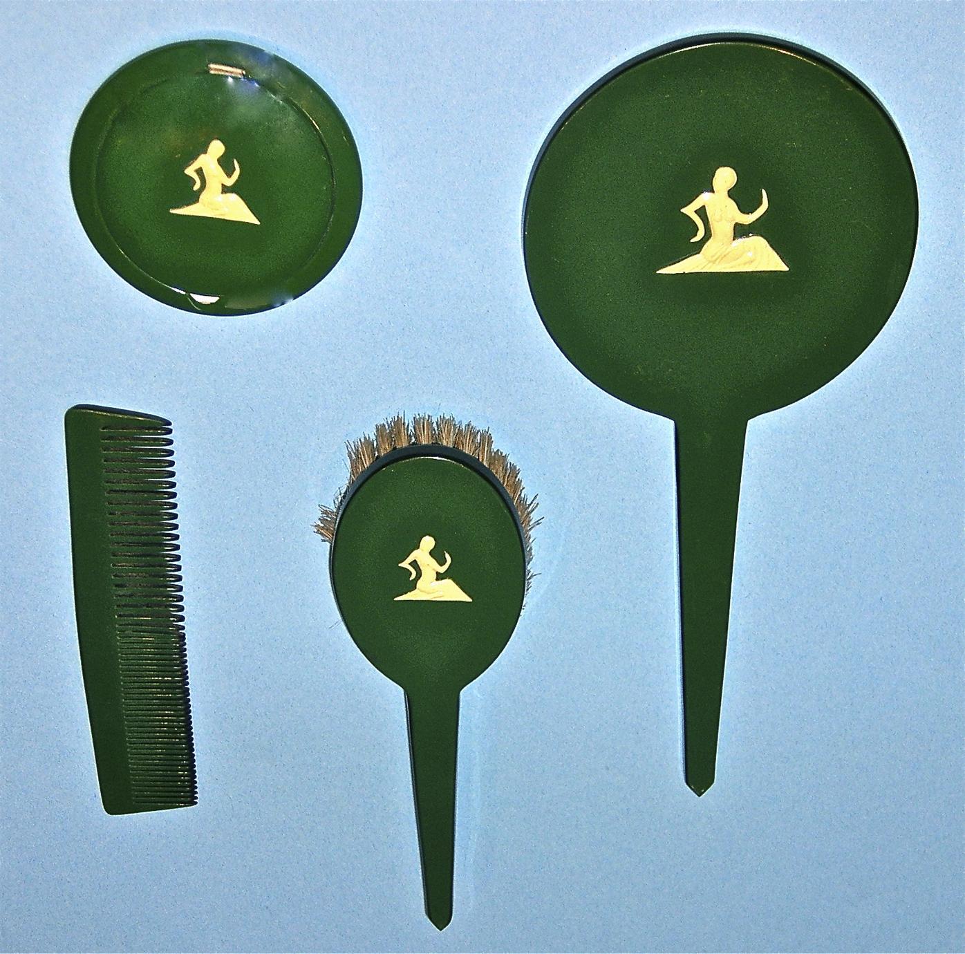 Deep green dresser set
