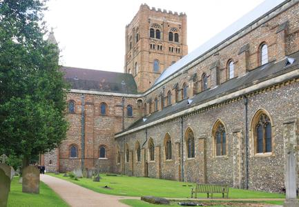 St. Albans Cathedral north transept west side and nave