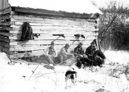 Luna, Starker, Aldo Leopold, George Bryan, and Ray Roark at the Ozark Cabin