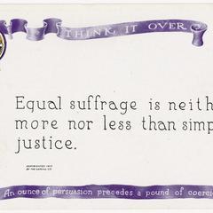 Simple justice, suffrage postcard