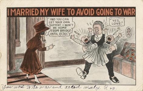 'I married my wife to avoid going to war' postcard