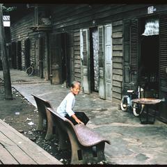 Vietnamese woman on bench