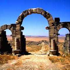 Three Arches at Entrance to Volubilis Roman Ruins