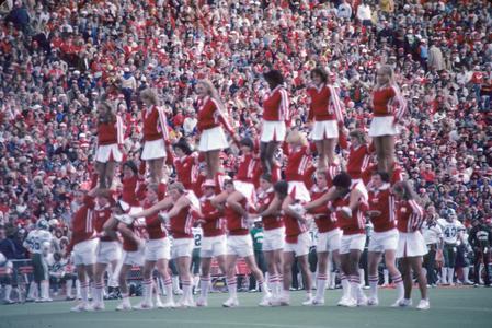 UW cheerleaders on the football field