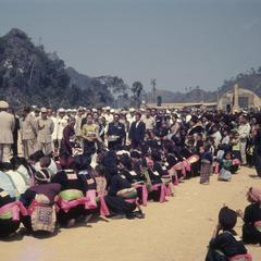 The King of Laos with villagers