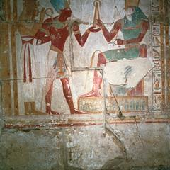 Tomb Painting of a Pharaoh Meeting God Horus