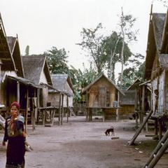 View of the central walkway in the Khmu' village of Phou Luang Nyai in Houa Khong Province