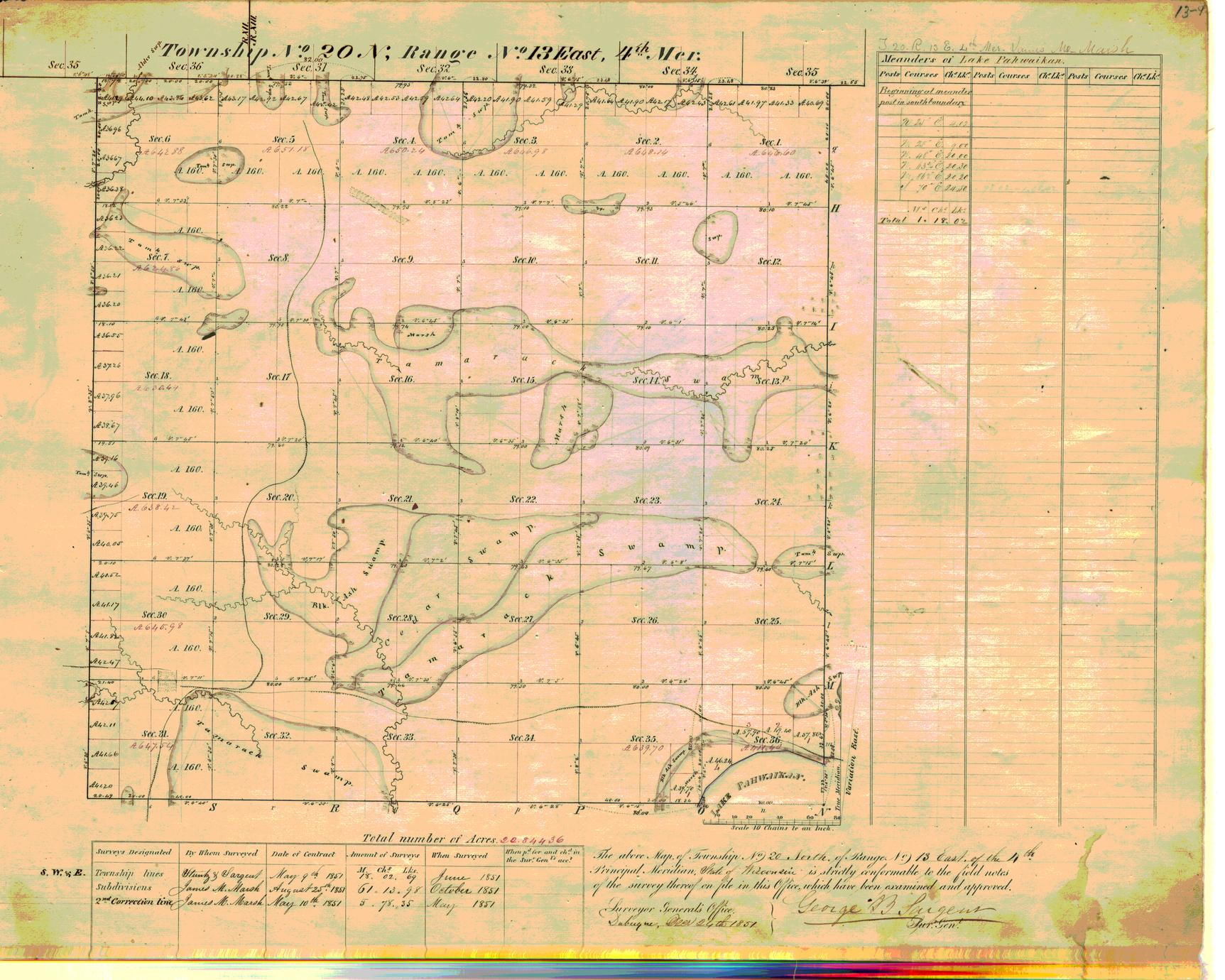 [Public Land Survey System map: Wisconsin Township 20 North, Range 13 East]
