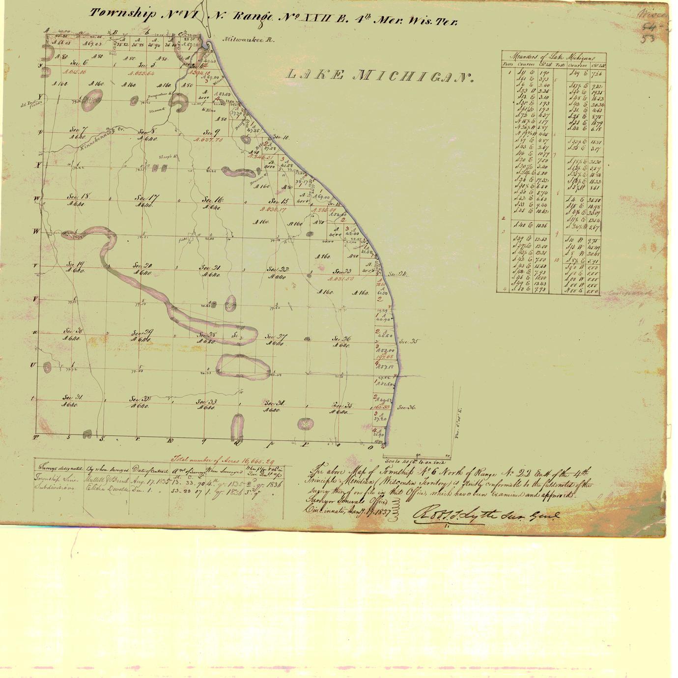[Public Land Survey System map: Wisconsin Township 06 North, Range 22 East]
