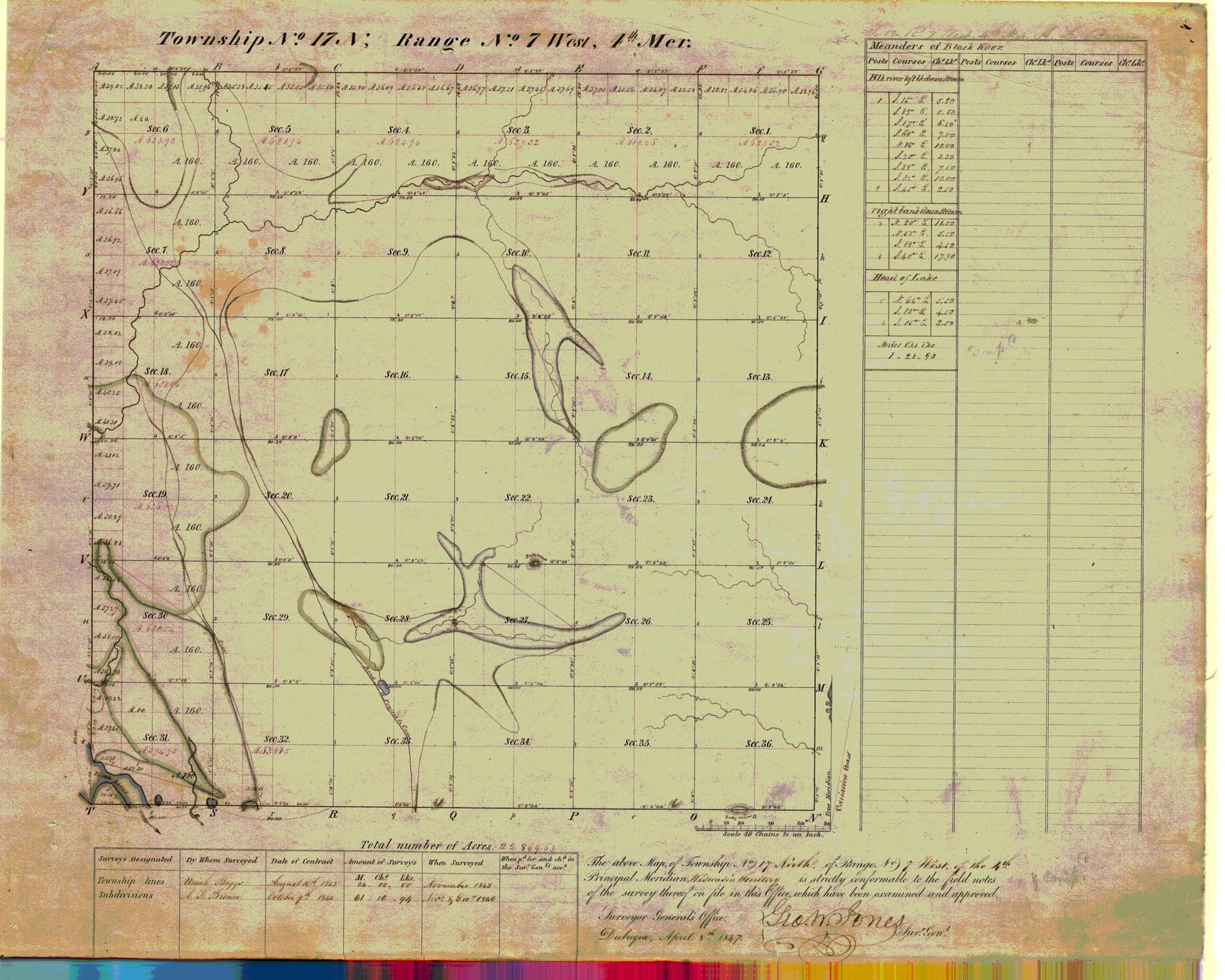 [Public Land Survey System map: Wisconsin Township 17 North, Range 07 West]