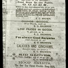 Advertisement of E. C. Brown