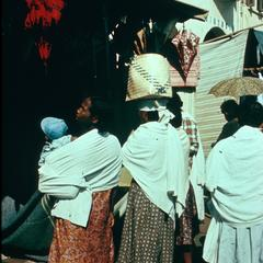 Women at the Cloth Market Wearing Shawls Called the Lamba