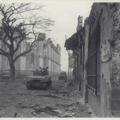 Tanks in Walled City, Manila, 1945