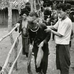 An elderly Blue Hmong (Hmong Njua) man is being helped along a path in a Hmong village in the vicinity of Muang Vang Vieng in Vientiane Province