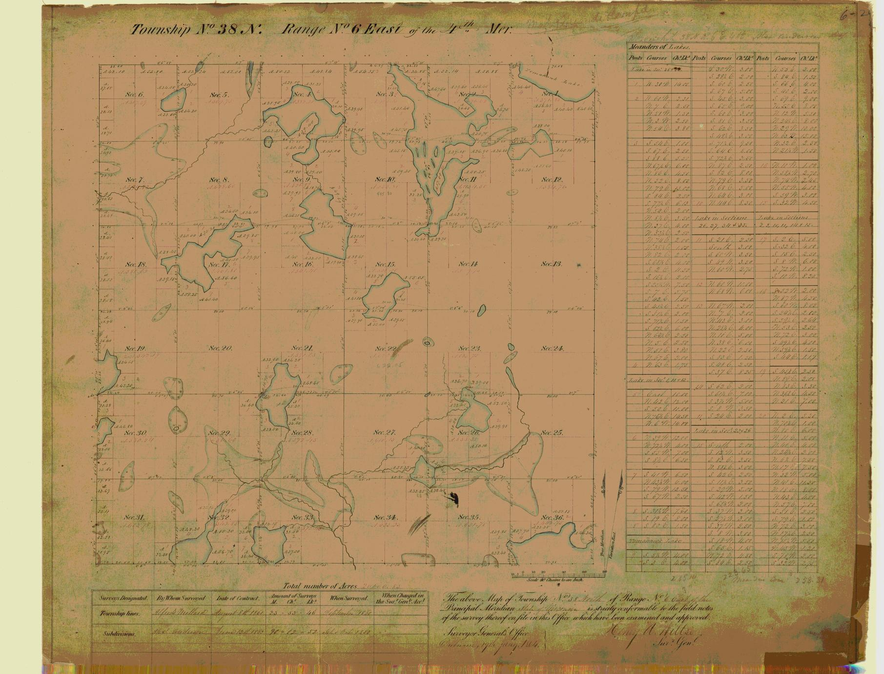 [Public Land Survey System map: Wisconsin Township 38 North, Range 06 East]