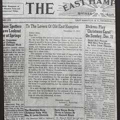 Photostat of front page of the East Hampton Star, December 25, 1941